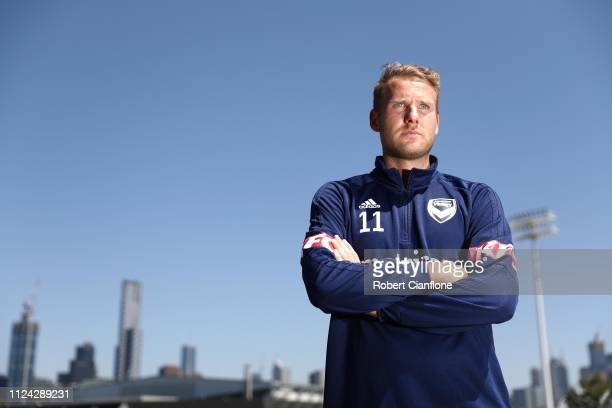 Ola Toivonen of the Victory poses after a Melbourne Victory ALeague press conference at AAMI Park on January 24 2019 in Melbourne Australia