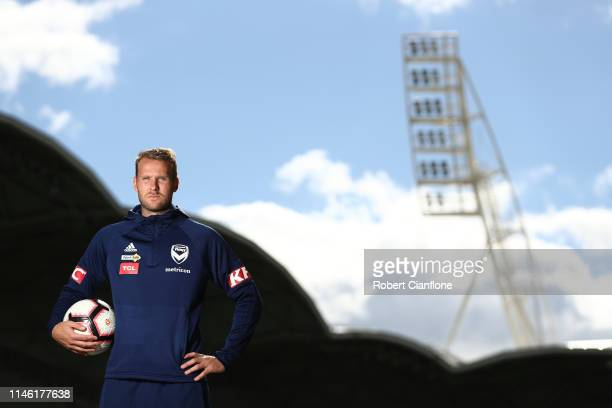 Ola Toivonen of the Victory poses during a Melbourne Victory ALeague media opportunity at AAMI Park on May 01 2019 in Melbourne Australia