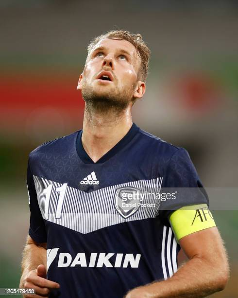 Ola Toivonen of the Victory reacts after an unsuccessful shot on goal during the AFC Champions League Group E match between Melbourne Victory and...