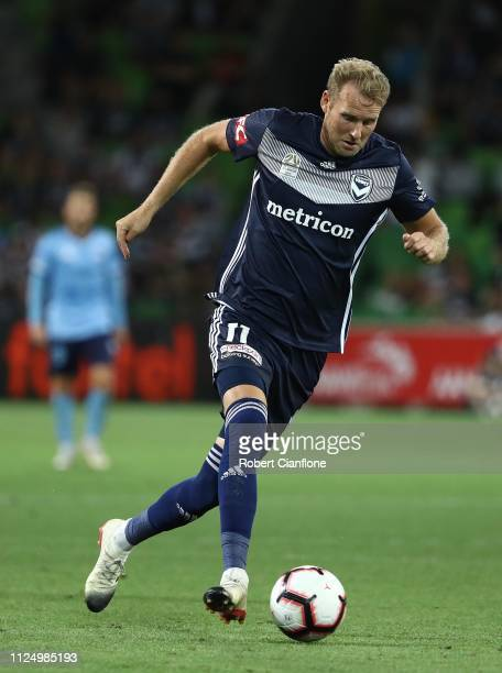 Ola Toivonen of the Victory runs with the ball during the round 16 ALeague match between the Melbourne Victory and Sydney FC at AAMI Park on January...