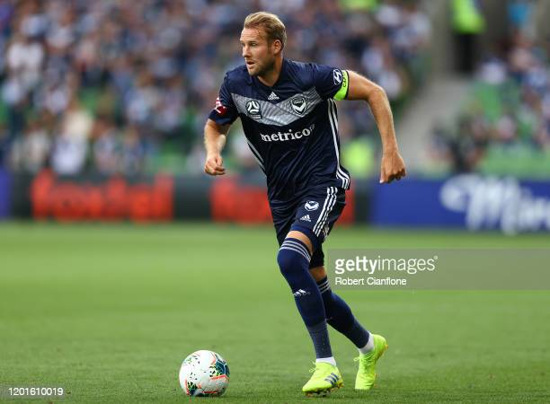 Ola Toivonen of the Victory runs with the ball during the round 16 A-League match between the Melbourne Victory and Sydney FC at AAMI Park on January...