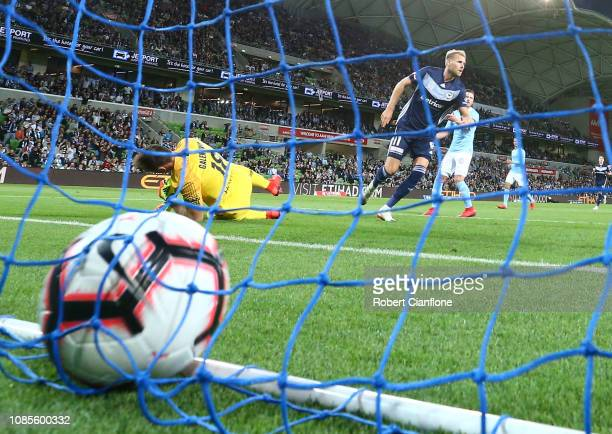Ola Toivonen of the Victory scores during the round nine A-League match between Melbourne City and Melbourne Victory at AAMI Park on December 22,...