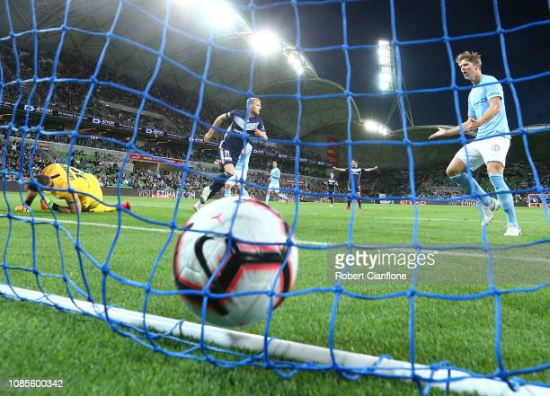 Ola Toivonen of the Victory scores during the round nine ALeague match between Melbourne City and Melbourne Victory at AAMI Park on December 22 2018...