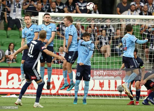 Ola Toivonen of the Victory scores from a free kick during the round 16 ALeague match between the Melbourne Victory and Sydney FC at AAMI Park on...