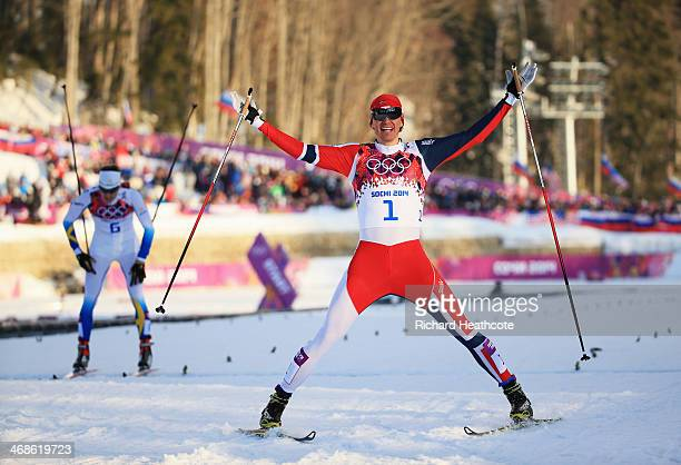 Ola Vigen Hattestad of Norway celebrates winning the Finals of the Men's Sprint Free during day four of the Sochi 2014 Winter Olympics at Laura...