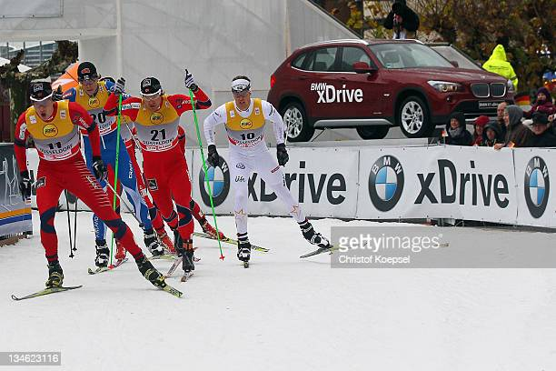 Ola Vigen Hattestad of Norway skates during the men's quarter final 17 km sprint of the FIS Cross Country World Cup at the Dusseldorf city circuit on...