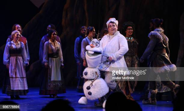 Olaf and Greg Hildreth during the Broadway Musical Opening Night Curtain Call for 'Frozen' at the St James Theatre on March 22 2018 in New York City