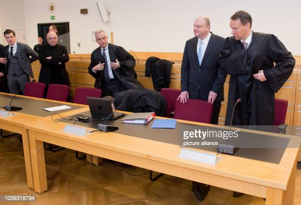 Olaf Glaeseker former spokesperson of former German President Christian Wulff and codefendant Manfred Schmidt and their lawyers Guido Frings Markus...