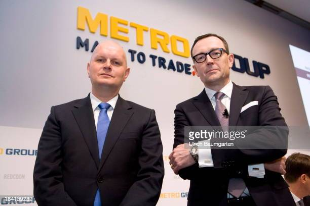 Olaf Koch CEO of the Metro AG and Mark Frese financial chairman of the Metro AG before the company's results news conference on March 20 2013 in...