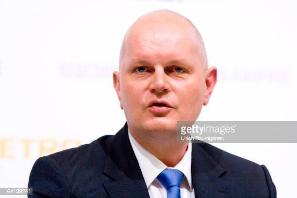 Olaf Koch CEO of the Metro AG before the company's results news conference on March 20 2013 in Duesseldorf Germany The German retail giant announced...