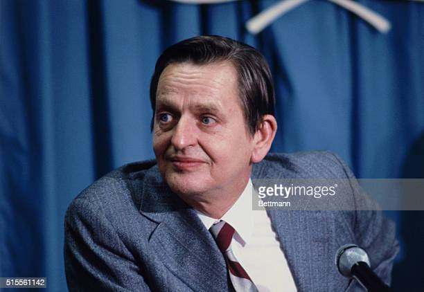 Olaf Palme former Prime Minister of Sweden pictured here at a United Nations press conference He is a special envoy to IraqIran