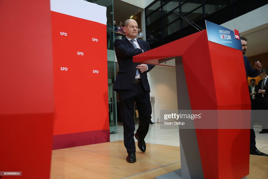 Olaf Scholz, Acting Chairman of the German Social Democrats (SPD), arrives to speak to journalists following the SPD member vote over the party's coalition contract with the German Christian Democrats (CDU/CSU) at SPD headquarters on March 4, 2018 in Berlin, Germany. SPD members voted with 66% for the coalition, ensuring the creation of the next German coalition government later this month.