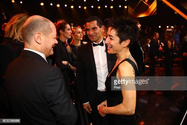 Olaf Scholz and Dunja Hayali attend the Goldene Kamera awards at Messehallen on February 22 2018 at the Messe Hamburg in Hamburg Germany
