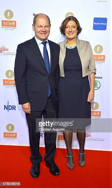 Olaf Scholz and his wife Britta Ernst attend the Echo Jazz 2015 at the dockyard of BlohmVoss on May 28 2015 in Hamburg Germany