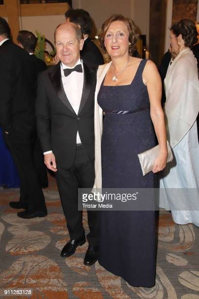 Olaf Scholz and his wife Britta Ernst during the press ball Hamburg at Hotel Atlantik on January 27, 2018 in Hamburg, Germany.