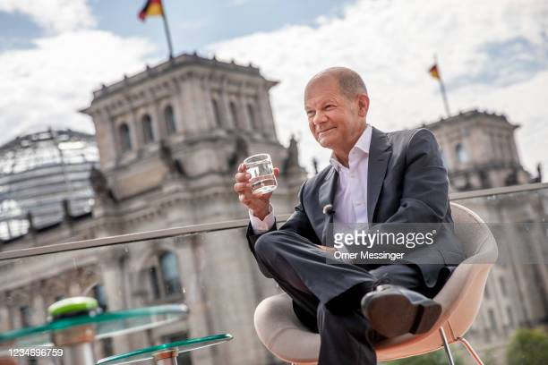 Olaf Scholz, chancellor candidate of the German Social Democratic Party , attends the annual ARD television summer interview with journalist Tina...