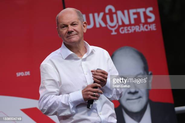 Olaf Scholz, chancellor candidate of the German Social Democrats , speaks at an election campaign rally on September 05, 2021 in Leipzig, Germany....