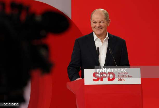 Olaf Scholz, chancellor candidate of the German Social Democrats , speaks to the media following a virtual, two-day retreat of the party leadership...