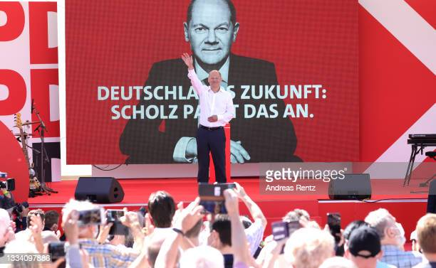 Olaf Scholz, Federal Finance Minister and Chancellor candidate of the German Social Democrats , speaks at an event to launch the SPD election...
