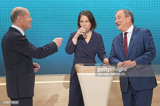 Olaf Scholz, German Finance Minister, Vice-Chancellor and the Social Democrats candidate for Chancellor, Annalena Baerbock co-leader of Germany's...