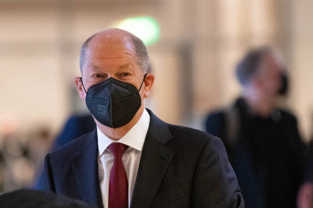 DEU: Social Democratic Party Chancellor Candidate Olaf Scholz at First Parliamentary Meetings in Bundestag