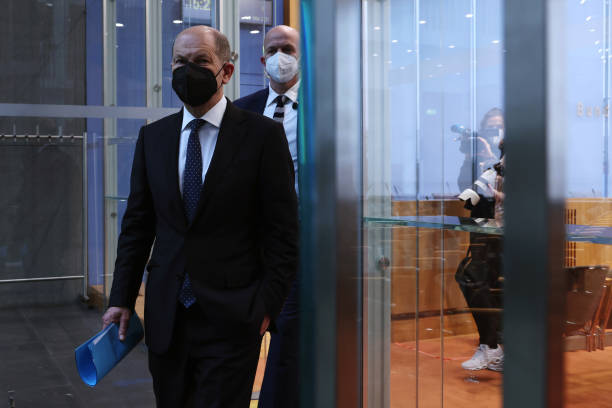 DEU: Germany's Finance Minister Olaf Scholz Tax Estimates News Conference
