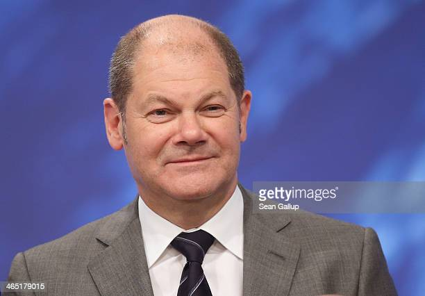 Olaf Scholz Mayor of Hamburg and member of the German Social Democrats attends a federal congress of the SPD on January 26 2014 in Berlin Germany The...