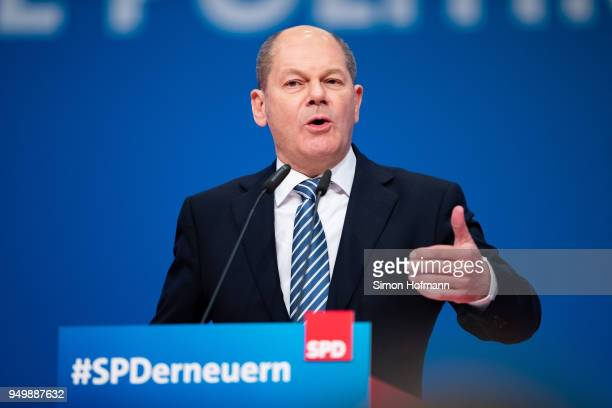 Olaf Scholz speaks at an SPD federal party congress on April 22 2018 in Wiesbaden Germany Delegates will vote on a new party leader to replace...
