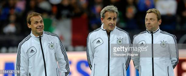 Olaf Thon Pierre Littbarski and Thomas Haessler look on prior to the century match between Germany and Italy at Commerzbank Arena on October 14 2012...
