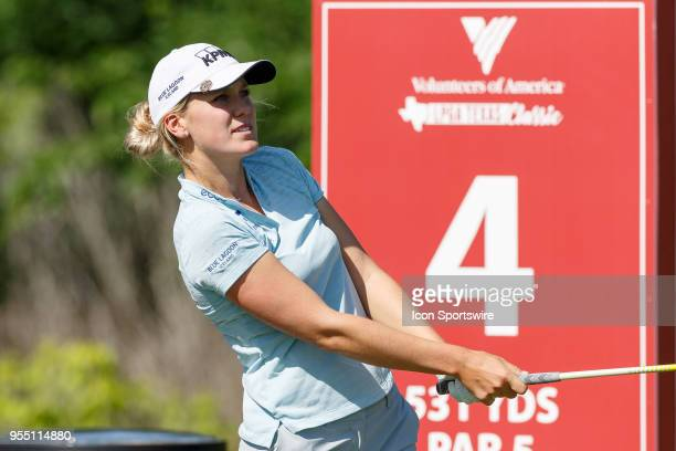 Olafia Kristinsdottir of Iceland hits her tee shot on during the LPGA Volunteers of America Texas Classic on May 5 2018 at the Old American Golf Club...
