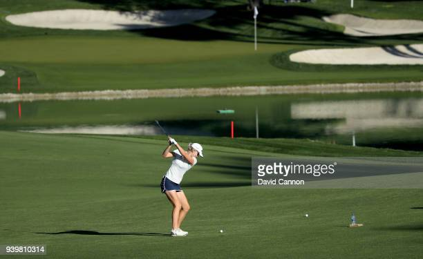 Olafia Kristinsdottir of Iceland plays her second shot on the par 4, sixth hole during the first round of the 2018 ANA Inspiration on the Dinah Shore...