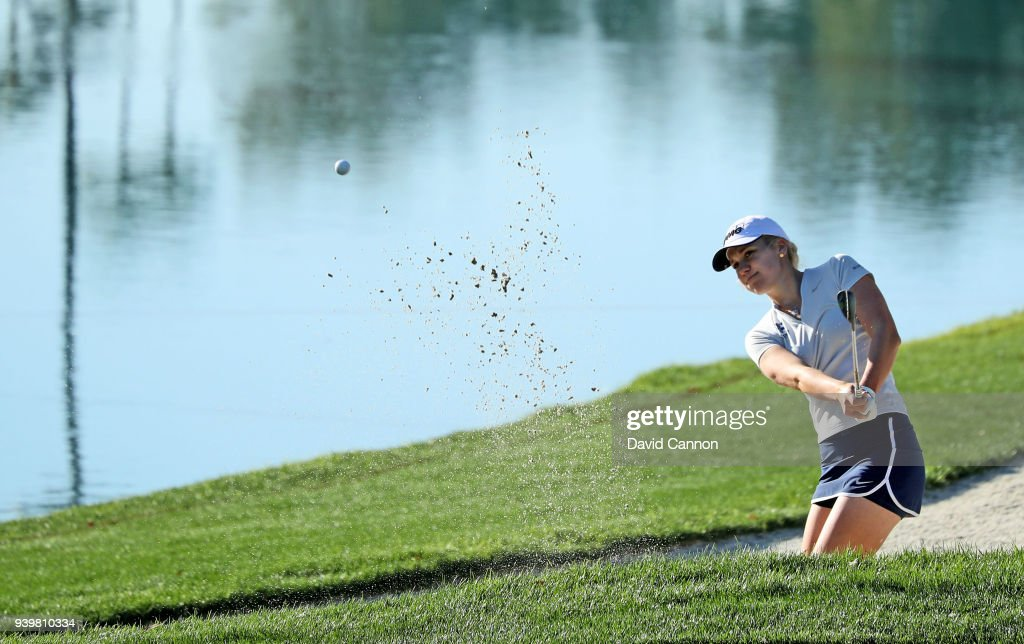 Olafia Kristinsdottir of Iceland plays her third shot on the par 4, sixth hole during the first round of the 2018 ANA Inspiration on the Dinah Shore Tournament Course at Mission Hills Country Club on March 29, 2018 in Rancho Mirage, California.