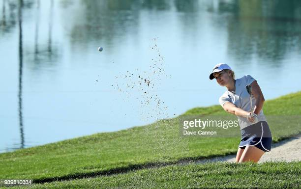 Olafia Kristinsdottir of Iceland plays her third shot on the par 4 sixth hole during the first round of the 2018 ANA Inspiration on the Dinah Shore...