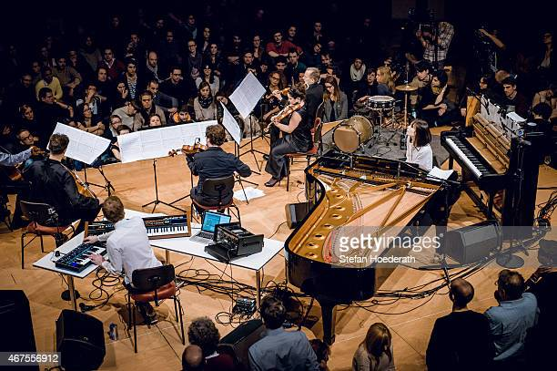 Olafur Arnalds and Alice Sara Ott perform live on stage during Yellow Lounge organized by recording label Deutsche Grammophon at Konzerthaus Am...