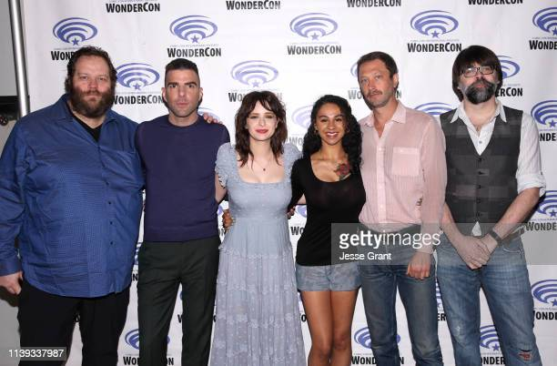 Olafur Darri Olafsson Zachary Quinto Ashleigh Cummings Jahkara Smith Ebon MossBachrach and Joe Hill attend the Wondercon Nos4a2 screening and panel...