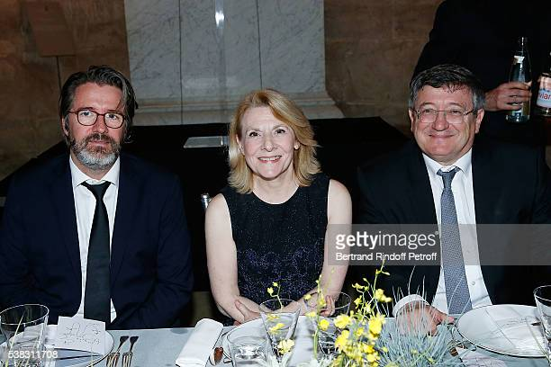 Olafur Eliasson Catherine Pegard and Prefet Serge Morvan attend the inauguration of Olafur Eliasson Exhibition at Chateau de Versailles on June 5...