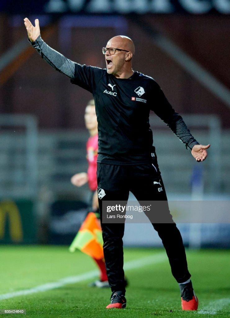 Olafur Kristjansson, head coach of Randers FC gestures during the Danish Alka Superliga match between Randers FC and Silkeborg IF at BioNutria Park on August 18, 2017 in Randers, Denmark.