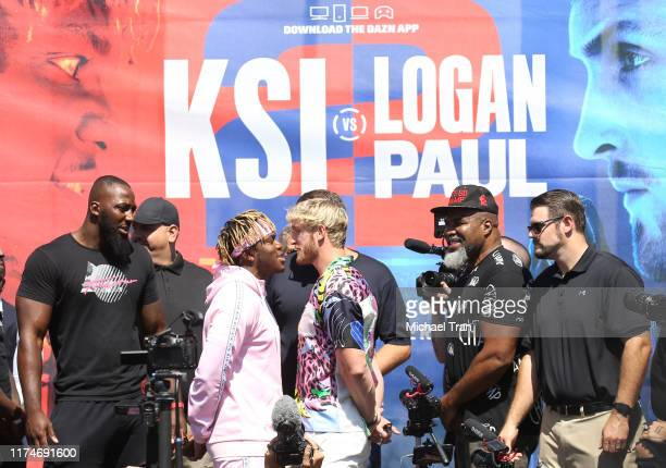 Olajide William Olatunji aka KSI and Logan Paul onstage at the KSI VS Logan Paul 2 launch press conference held at Gilbert Lindsey Plaza on September...
