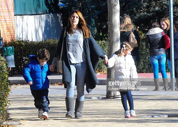 Olalla Dominguez and kids Leo Torres and Nora Torres are seen on January 19, 2015 in Madrid, Spain.