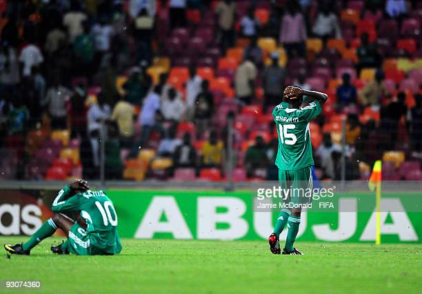 Olarenwaju Kayode and Yusuf Otubanjo of Nigeria show their dejection after losing the FIFA U17 World Cup Final match between Switzerland and Nigeria...