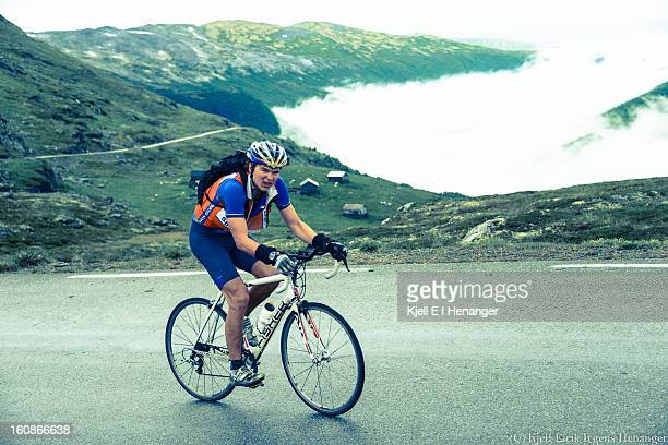 CONTENT] Olav Johannes Hovland winner of Aurlandsfjellet Xtreme Triathlon 2012 climbs well above the clouds on his way up the second climb from...