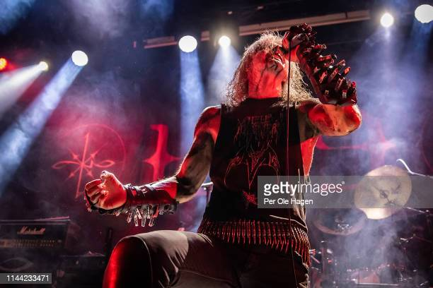 Olav Ravn Bergene from the band 1349 performs on stage during The Inferno Festival at Rockefeller Music Hall on April 21 2019 in Oslo Norway