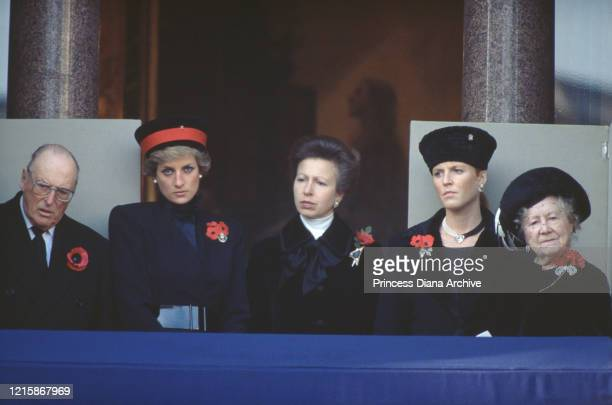 Olav V of Norway , Diana, Princess of Wales , Anne, Princess Royal, Sarah, Duchess of York, and Queen Elizabeth The Queen Mother attend the National...