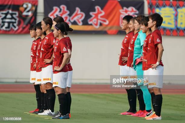 Olayers of Urawa Red Diamonds pose for photograph the Nadeshiko League match between Urawa Red Diamonds Ladies and Cerezo Osaka Sakai Ladies at...