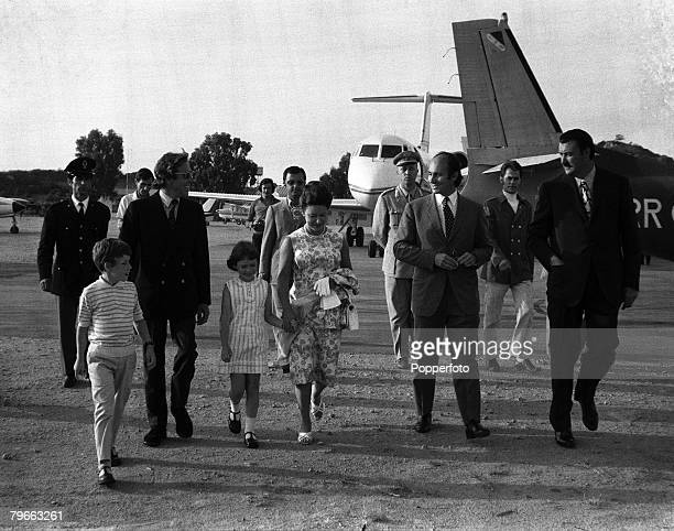 Olbia Sardinia 13th August 1971 Princess Margaret and her husband the Earl of Snowdon with their children Viscount Linley and Sarah Armstrong Jones...