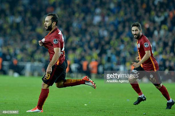 Olcan Adin of Galatasaray celebrates his score during the Turkish Spor Toto Super League football match between Fenerbahce and Galatasaray in Sukru...