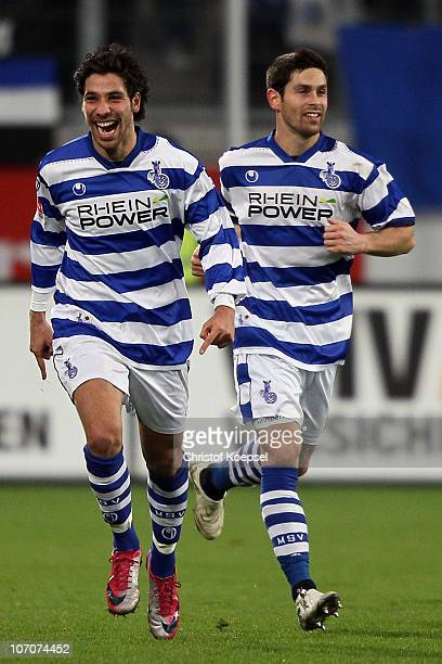 Olcay Sahal of Duisburg celebrates the first goal with Olivier Veigneau of Duisburg during the Second Bundesliga match between MSV Duisburg and FC...