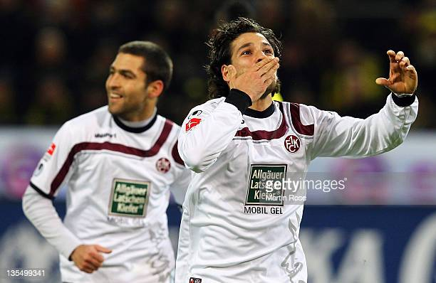 Olcay Sahan of Kaiserslautern celebrates after he scores his team's equalizing goal during the Bundesliga match between Borussia Dortmund and 1. FC...