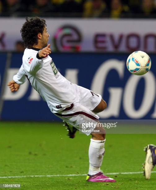 Olcay Sahan of Kaiserslautern scores his team's equalizing goal during the Bundesliga match between Borussia Dortmund and 1. FC Kaiserslautern at the...