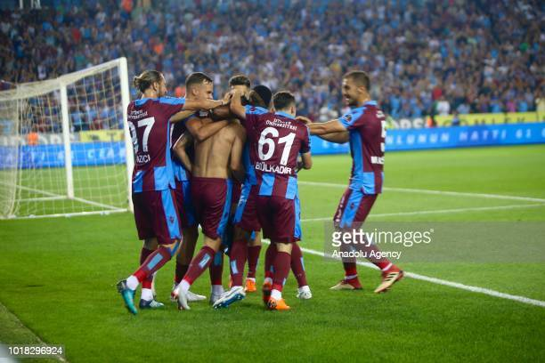 Olcay Sahan of Trabzonspor celebrates his goal with his teammates during the Turkish Super Lig soccer match between Trabzonspor and Demir Grup...